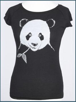 Schwarzes Frauen Bambusshirt Panda