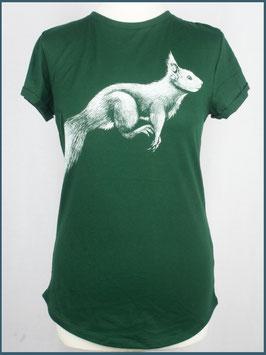 Grünes Recycled Rollsleeve Shirt Eichhörnchen