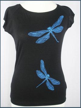 Schwarzes Frauen Bambusshirt Libelle