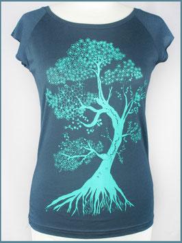 Denimblaues Frauen Bambusshirt kirschbaum