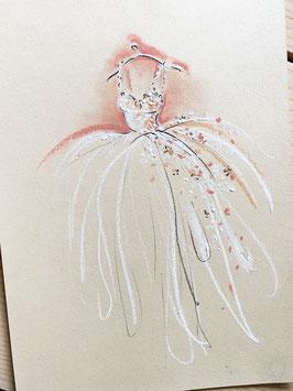 Vintage Brautkleid auf Kartonpapier