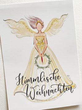 Postkarte - Himmlische Weihnachten gelber Engel