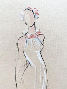 Vintage Braut auf Kartonpapier