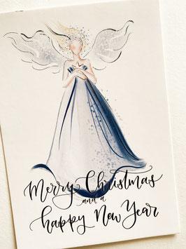 Postkarte - Merry Christmas blauer Engel