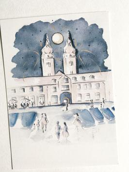Postkarte - Töpfermarkt mit Blick auf die Johanniskirchtürme