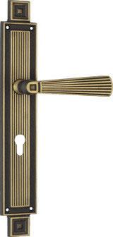 OPERA 1055-04 Art dèco Türdrücker-Langschildgarnitur