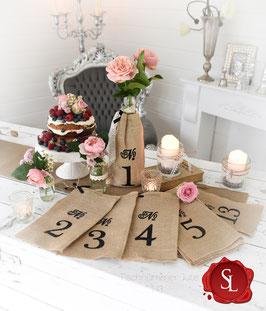 Tischnummer Jute