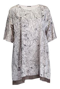 Sommertunika aus Seide und Baumwolle mit Kurzärmeln und floralem Muster