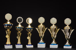 # 21 Pokal in blau und goldfarben