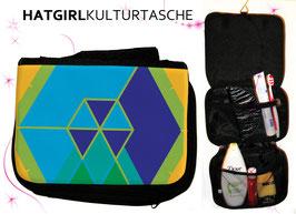 Hexagon Blau Gelb © hatgirl.de Badtasche, Schminktasche, Waschtasche, Reisetasche,  Kulturtasche