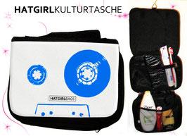 Retro Tapedeck Blau© hatgirl.de Badtasche, Schminktasche, Waschtasche, Reisetasche,  Kulturtasche