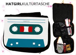 Retro Tapedeck  Petrol White © hatgirl.de Badtasche, Schminktasche, Waschtasche, Reisetasche,  Kulturtasche