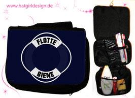 Flotte Biene Marine - hatgirldesign.de Badtasche, Schminktasche, Waschtasche, Reisetasche,  Kulturtasche