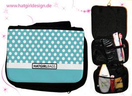 Blaue Polkadots - hatgirl.de Badtasche, Schminktasche, Waschtasche, Reisetasche,  Kulturtasche