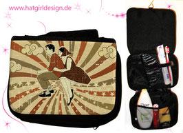 Vintage Vespa Riders Braun - hatgirl.de Badtasche, Schminktasche, Waschtasche, Reisetasche,  Kulturtasche