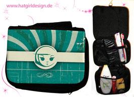 Türkis Vintage Girl - hatgirl.de Badtasche, Schminktasche, Waschtasche, Reisetasche,  Kulturtasche