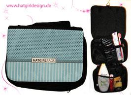 Vintage Blue Polkadots & Stripes - hatgirl.de Badtasche, Schminktasche, Waschtasche, Reisetasche,  Kulturtasche