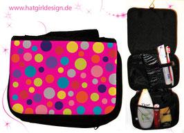 Farbenfrohes Punktemuster © hatgirl.de Badtasche, Schminktasche, Waschtasche, Reisetasche,  Kulturtasche