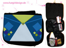 Kristallblau - hatgirldesign.de Badtasche, Schminktasche, Waschtasche, Reisetasche,  Kulturtasche