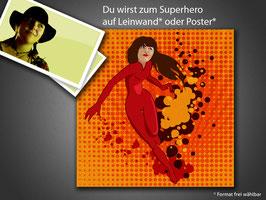 Schlichte Superhero-Comicfigur-Porträitierung ohne Druckkosten