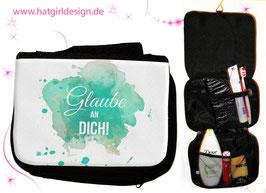 Glaube an Dich - hatgirl.de Badtasche, Schminktasche, Waschtasche, Reisetasche,  Kulturtasche