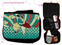 Vintage Vespa Riders Blue- hatgirl.de Badtasche, Schminktasche, Waschtasche, Reisetasche,  Kulturtasche