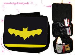 Alltagshelden Fledermaus- hatgirl.de Badtasche, Schminktasche, Waschtasche, Reisetasche,  Kulturtasche