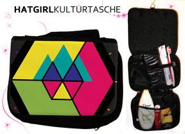 Hexagon Bunt © hatgirl.de Badtasche, Schminktasche, Waschtasche, Reisetasche,  Kulturtasche