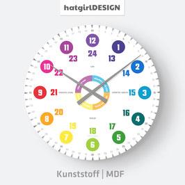 """""""Westdeutsche Zeitangabe"""" Schlichte Farbenfrohe Lernuhr Wanduhr mit Text"""