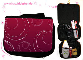 Edle Kreise Burgund- hatgirl.de Badtasche, Schminktasche, Waschtasche, Reisetasche,  Kulturtasche