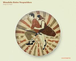 """""""Vintage Vespa Riders"""" Wanduhr im Retrolook mit oder ohne Ziffern"""