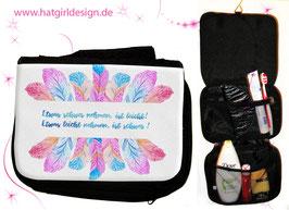 Aquarell Federleichtes Leben- hatgirl.de Badtasche, Schminktasche, Waschtasche, Reisetasche,  Kulturtasche