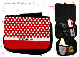 Rote Polkadots - hatgirl.de Badtasche, Schminktasche, Waschtasche, Reisetasche,  Kulturtasche