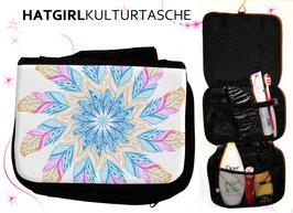 Aquarell Federn- hatgirl.de Badtasche, Schminktasche, Waschtasche, Reisetasche,  Kulturtasche