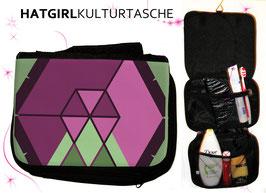 Hexagon Burgund © hatgirl.de Badtasche, Schminktasche, Waschtasche, Reisetasche,  Kulturtasche