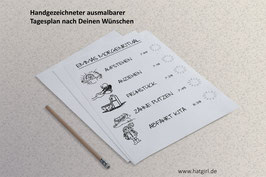 Individuell illustrierte ausmalbare Tagespläne zum Download