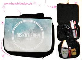 Große Köpfe diskutieren Ideen © hatgirl.de (Glück, Philosophie, für starke Kinder) Badtasche, Schminktasche, Waschtasche, Reisetasche,  Kulturtasche
