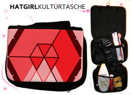 Hexagon Rot © hatgirl.de Badtasche, Schminktasche, Waschtasche, Reisetasche,  Kulturtasche