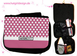 Altrosa Polkadots - hatgirl.de Badtasche, Schminktasche, Waschtasche, Reisetasche,  Kulturtasche