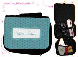 Vintage Blue Flower - hatgirl.de Badtasche, Schminktasche, Waschtasche, Reisetasche,  Kulturtasche
