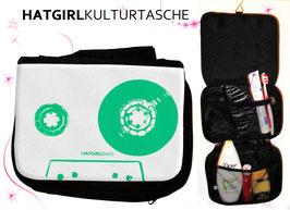 Retro Tapedeck Grün © hatgirl.de Badtasche, Schminktasche, Waschtasche, Reisetasche,  Kulturtasche