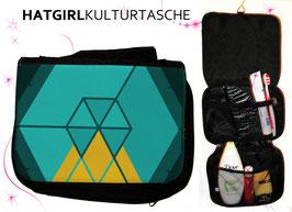 Hexagon Teal  © hatgirl.de Badtasche, Schminktasche, Waschtasche, Reisetasche,  Kulturtasche