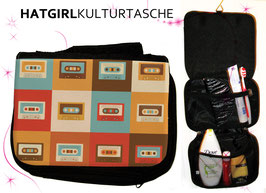 Retro-Color Tapedeck © hatgirl.de Badtasche, Schminktasche, Waschtasche, Reisetasche,  Kulturtasche