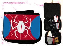 "Alltagshelden ""Spinne"" © hatgirl.de Badtasche, Schminktasche, Waschtasche, Reisetasche,  Kulturtasche"