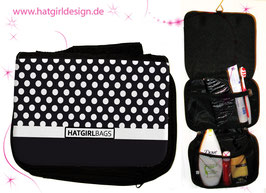 Schwarze Polkadots - hatgirl.de Badtasche, Schminktasche, Waschtasche, Reisetasche,  Kulturtasche