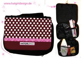 Burgund Polkadots - hatgirl.de Badtasche, Schminktasche, Waschtasche, Reisetasche,  Kulturtasche