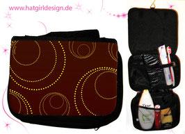 Edle Kreise Golden Braun- hatgirl.de Badtasche, Schminktasche, Waschtasche, Reisetasche,  Kulturtasche