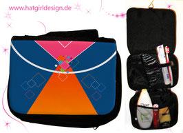 Kristall Orange Pink Blau - hatgirl.de Badtasche, Schminktasche, Waschtasche, Reisetasche,  Kulturtasche