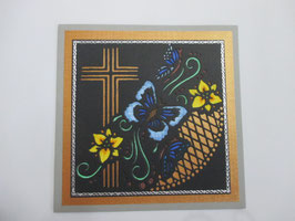 Trauer, Beileid ,Kondolenz ,Trauerkarte Schmetterling, Blau, Handarbeit
