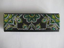 Brillenbox, Brillenetui, Eisblume grün